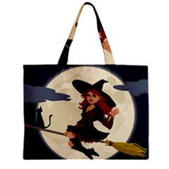 Witch Witchcraft Broomstick Broom Zipper Mini Tote Bag