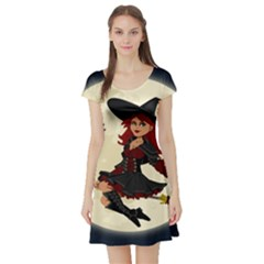 Witch Witchcraft Broomstick Broom Short Sleeve Skater Dress