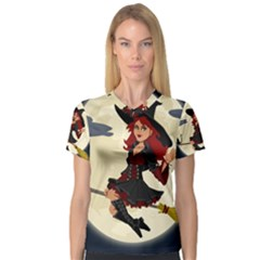 Witch Witchcraft Broomstick Broom Women s V-Neck Sport Mesh Tee