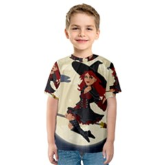 Witch Witchcraft Broomstick Broom Kids  Sport Mesh Tee