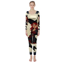 Witch Witchcraft Broomstick Broom Long Sleeve Catsuit