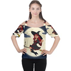 Witch Witchcraft Broomstick Broom Women s Cutout Shoulder Tee