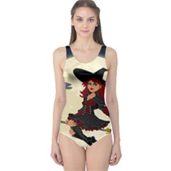 Witch Witchcraft Broomstick Broom One Piece Swimsuit