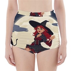 Witch Witchcraft Broomstick Broom High-Waisted Bikini Bottoms