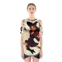 Witch Witchcraft Broomstick Broom Cutout Shoulder Dress