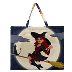 Witch Witchcraft Broomstick Broom Zipper Large Tote Bag