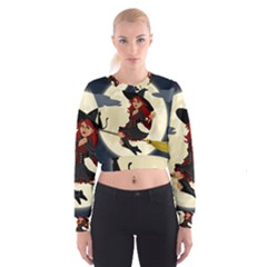 Witch Witchcraft Broomstick Broom Women s Cropped Sweatshirt