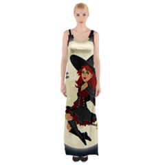 Witch Witchcraft Broomstick Broom Maxi Thigh Split Dress