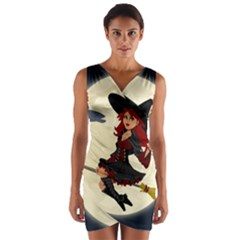 Witch Witchcraft Broomstick Broom Wrap Front Bodycon Dress