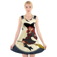 Witch Witchcraft Broomstick Broom V-Neck Sleeveless Skater Dress