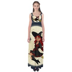 Witch Witchcraft Broomstick Broom Empire Waist Maxi Dress