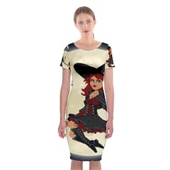 Witch Witchcraft Broomstick Broom Classic Short Sleeve Midi Dress