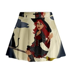 Witch Witchcraft Broomstick Broom Mini Flare Skirt