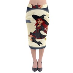 Witch Witchcraft Broomstick Broom Midi Pencil Skirt