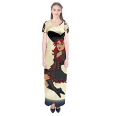Witch Witchcraft Broomstick Broom Short Sleeve Maxi Dress