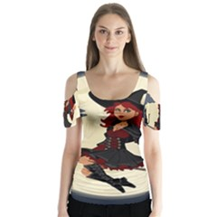 Witch Witchcraft Broomstick Broom Butterfly Sleeve Cutout Tee