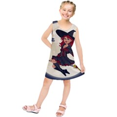 Witch Witchcraft Broomstick Broom Kids  Tunic Dress