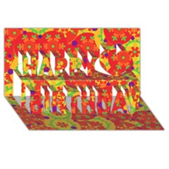 Orange design Happy Birthday 3D Greeting Card (8x4)