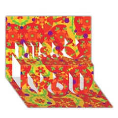 Orange Design Miss You 3d Greeting Card (7x5)