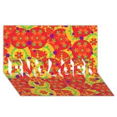 Orange design ENGAGED 3D Greeting Card (8x4)