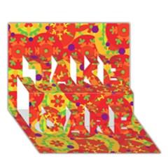 Orange design TAKE CARE 3D Greeting Card (7x5)