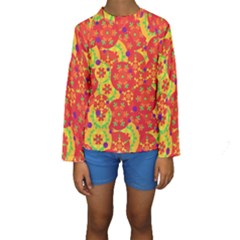Orange design Kids  Long Sleeve Swimwear