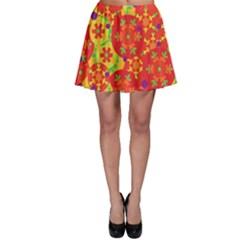 Orange design Skater Skirt