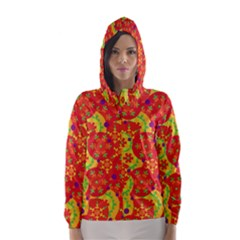 Orange design Hooded Wind Breaker (Women)