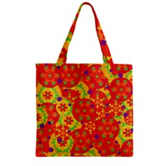 Orange design Zipper Grocery Tote Bag