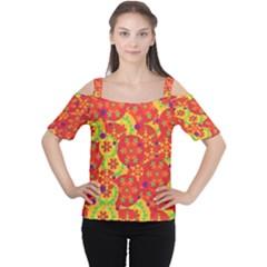 Orange design Women s Cutout Shoulder Tee
