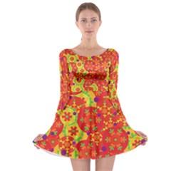 Orange design Long Sleeve Skater Dress