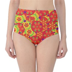 Orange design High-Waist Bikini Bottoms