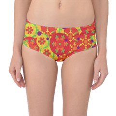 Orange design Mid-Waist Bikini Bottoms