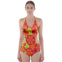 Orange design Cut-Out One Piece Swimsuit