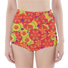 Orange design High-Waisted Bikini Bottoms
