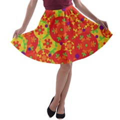 Orange design A-line Skater Skirt