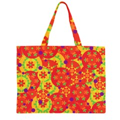 Orange design Zipper Large Tote Bag