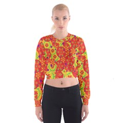 Orange design Women s Cropped Sweatshirt