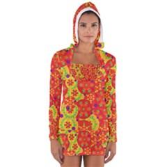 Orange design Women s Long Sleeve Hooded T-shirt