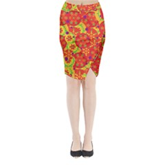 Orange design Midi Wrap Pencil Skirt