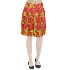 Orange design Pleated Skirt