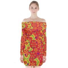 Orange design Long Sleeve Off Shoulder Dress