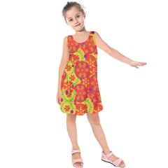 Orange design Kids  Sleeveless Dress