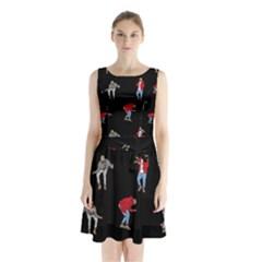 Drake Ugly Holiday Christmas Sleeveless Chiffon Waist Tie Dress