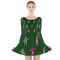 Drake Ugly Holiday Christmas 2 Long Sleeve Velvet Skater Dress