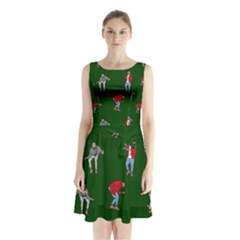 Drake Ugly Holiday Christmas 2 Sleeveless Chiffon Waist Tie Dress
