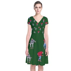 Drake Ugly Holiday Christmas 2 Short Sleeve Front Wrap Dress