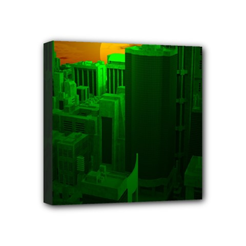 Green Building City Night Mini Canvas 4  x 4