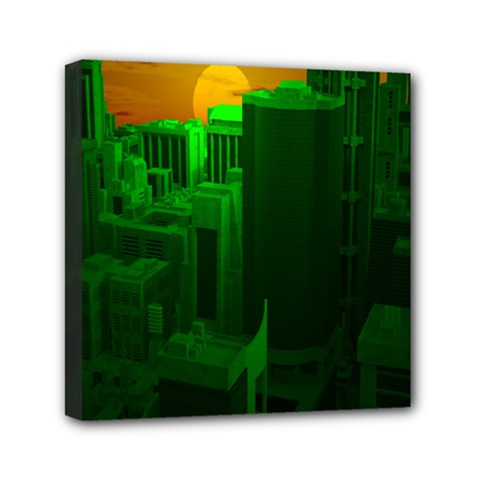 Green Building City Night Mini Canvas 6  x 6