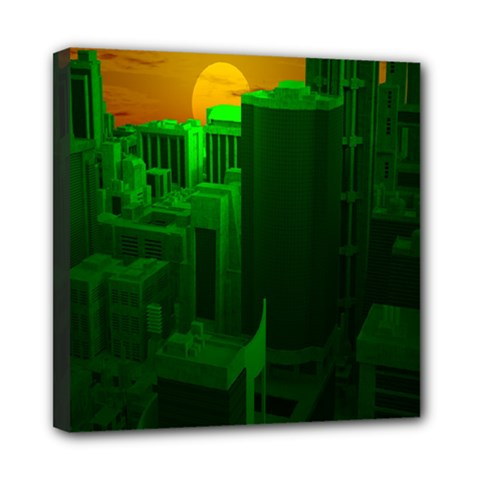 Green Building City Night Mini Canvas 8  x 8